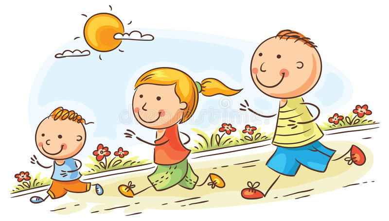 Cartoon family jogging together vector illustration