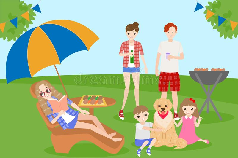 Family with bbq party. Cartoon family on picnic with bbq party stock illustration