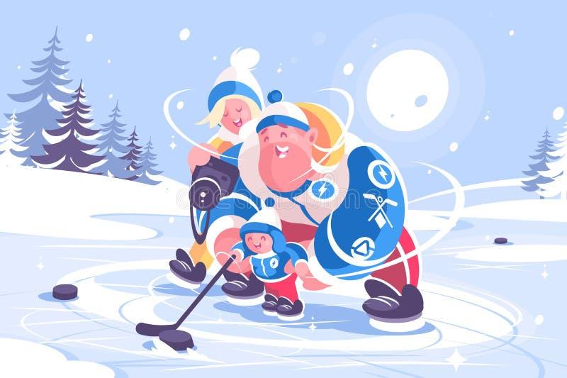 Cartoon family playing in hockey flat poster vector illustration