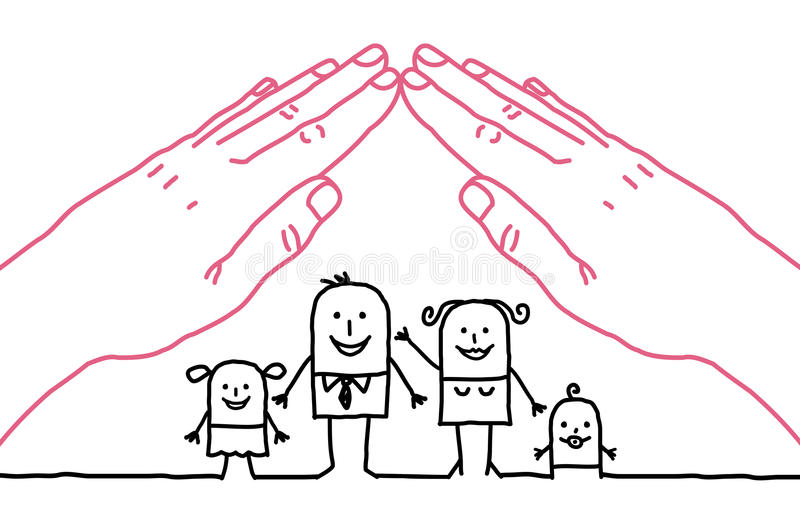 Cartoon family - roof stock photo