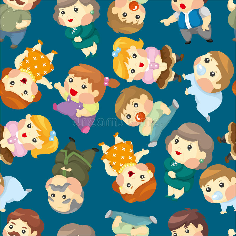 Cartoon family set seamless pattern stock illustration