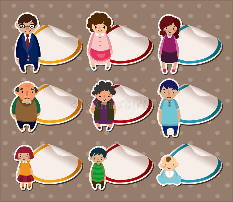 Cartoon family Stickers,Label vector illustration