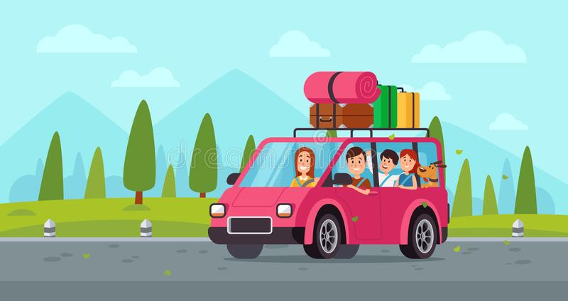 Cartoon family travel in car. Happy father, mother and childrens drive on holiday trip with luggage. Traveling vector. Cartoon family travel in car. Happy father vector illustration