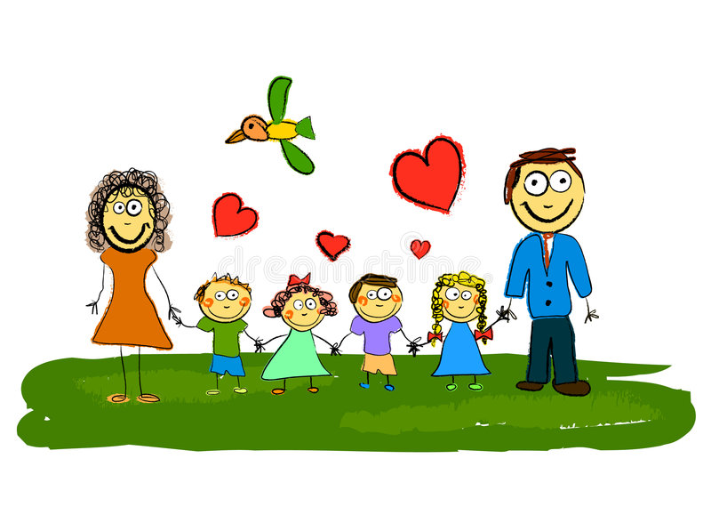 Cartoon family vector stock illustration