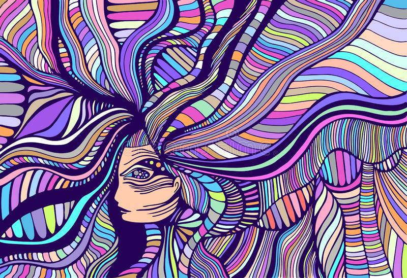 Cartoon fantasy colorful beautiful girl. Vector hand drawn illustration with fantastic woman. Creative psychedelic art. Pastel colors stock illustration