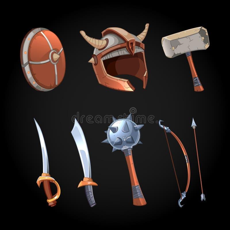Cartoon fantasy weapons vector icons set stock illustration