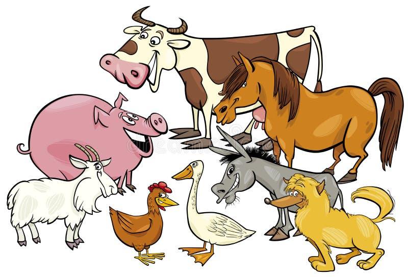 Cartoon farm animal characters group vector illustration