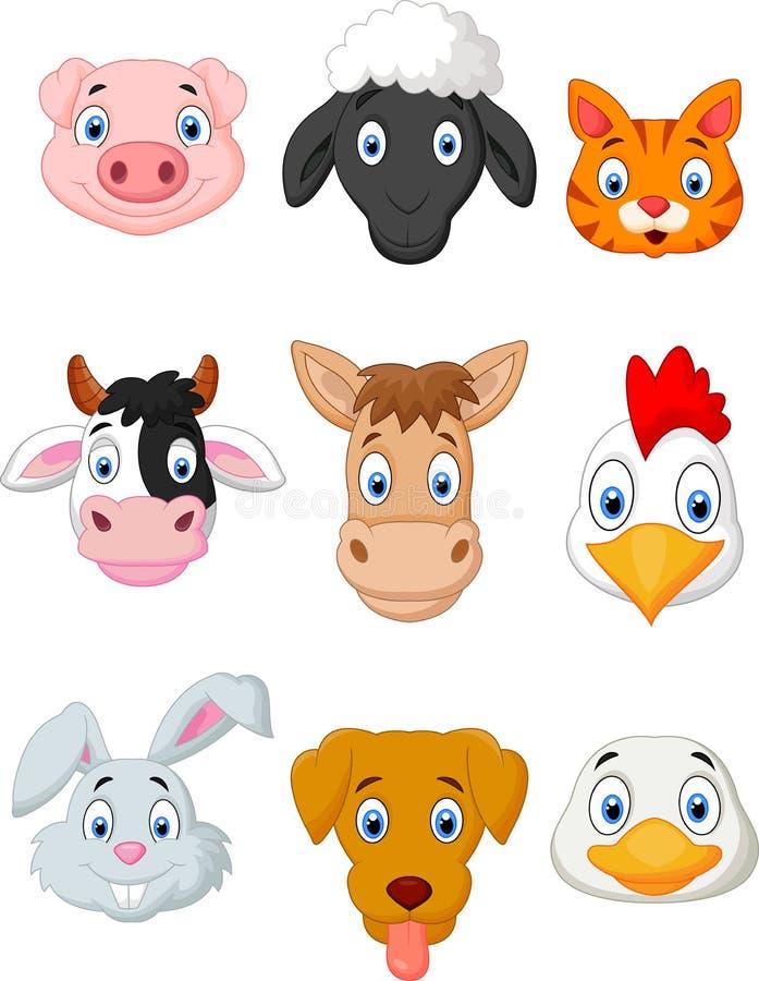 Cartoon farm animal set vector illustration