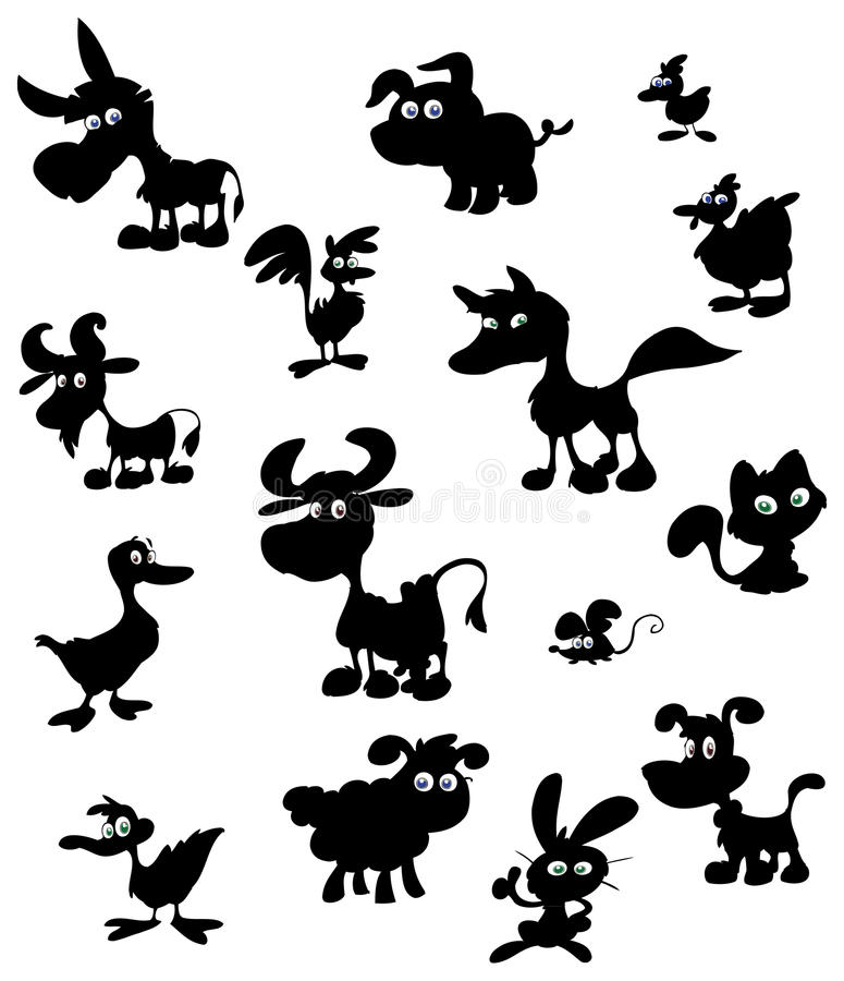 Cartoon Farm Animal Silhouettes Royalty Free Stock Photography