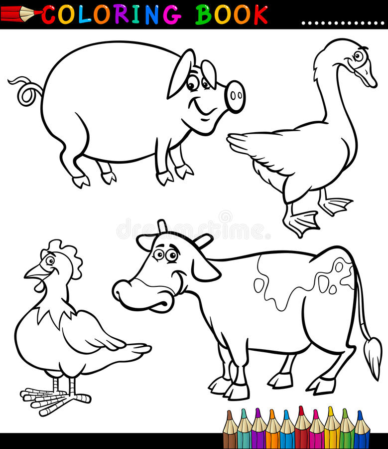 Download Cartoon Farm Animals For Coloring Book Stock Vector - Image: 29300441