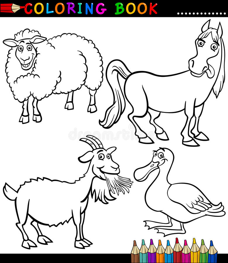 Download Cartoon Farm Animals For Coloring Book Stock Vector - Image: 29300481