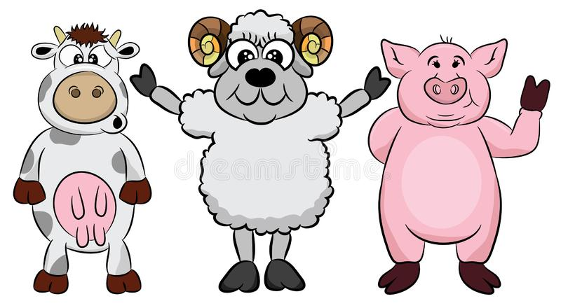 Farm life. Cartoon fun farm animals set. Vector illustration, isolated on white background. Cute pets characters including pig, sh royalty free illustration