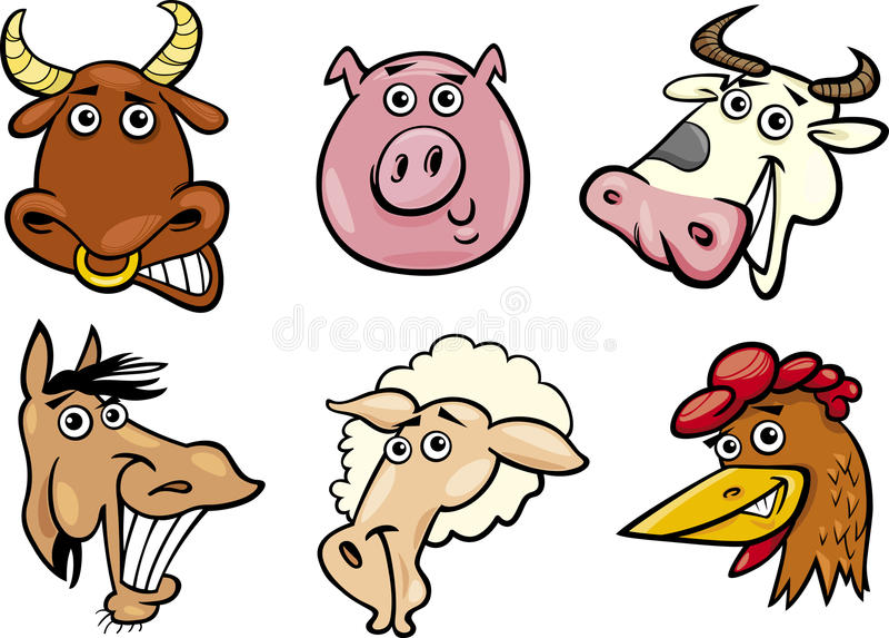Cartoon Farm Animals Heads Set Royalty Free Stock Image
