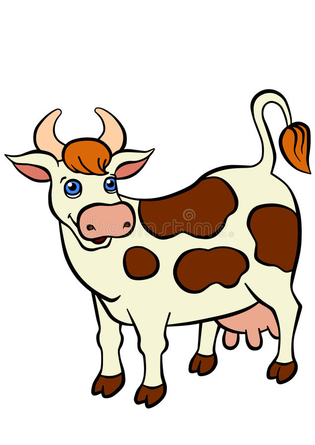 cartoon farm animals for kids cute cow stands and smiles - Pictures Of Animals For Kids