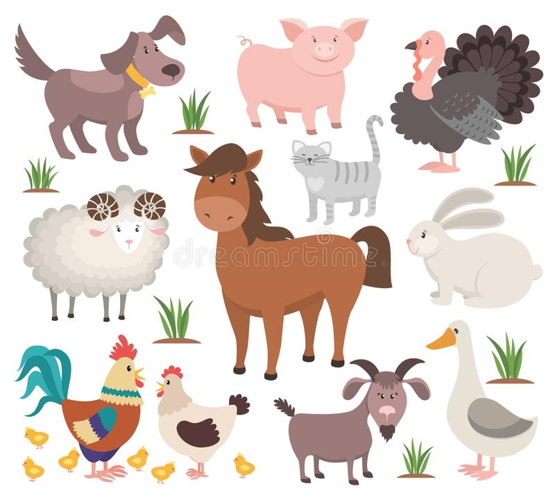 Cartoon farm animals. Turkey cat ram goat chicken rabbit horse. Village animal collection vector illustration