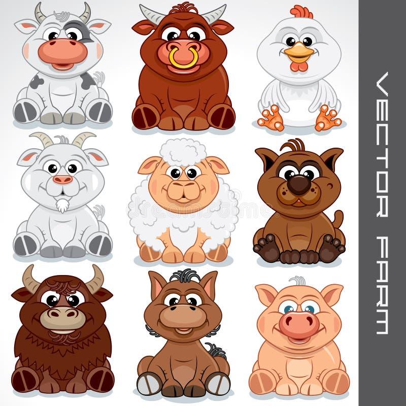 Cartoon Farm Animals. Vector Collection of Cute Animals vector illustration