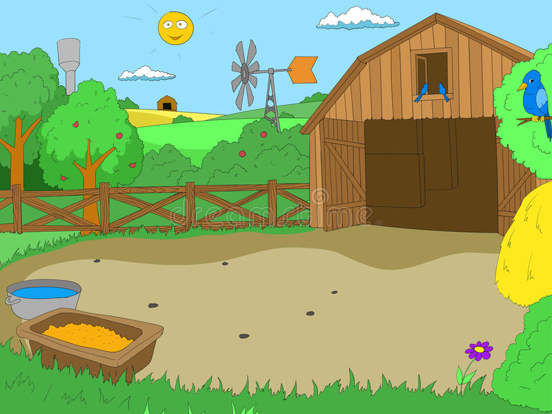 Cartoon farm color book children vector stock illustration