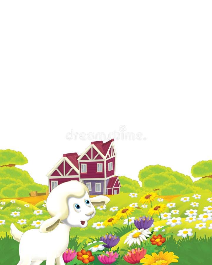 Cartoon farm, com ovelhas de animais a divertir-se em fundo branco - ilustração para crianças ilustração stock