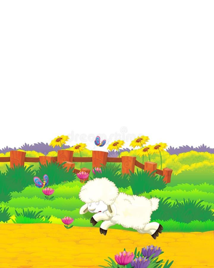 Cartoon farm, com ovelhas de animais a divertir-se em fundo branco - ilustração para crianças ilustração do vetor