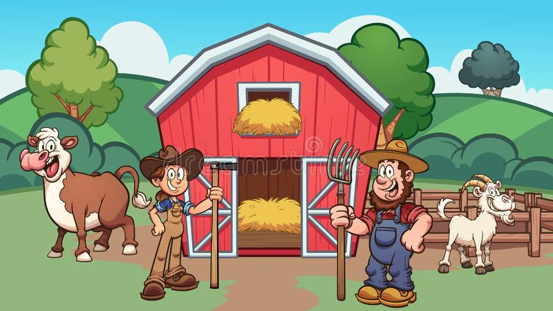 Cartoon farm with farmers, cow and goat. Vector clip art illustration with simple gradients. Some elements on separate layers stock illustration
