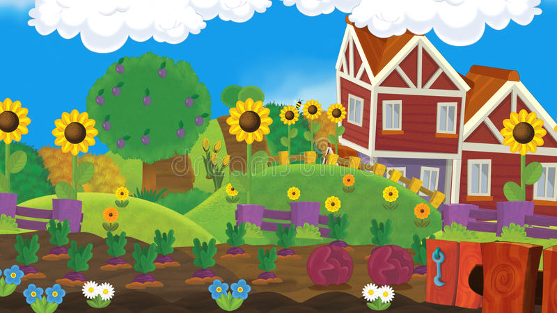 Cartoon farm scene - empty - for different usage royalty free illustration