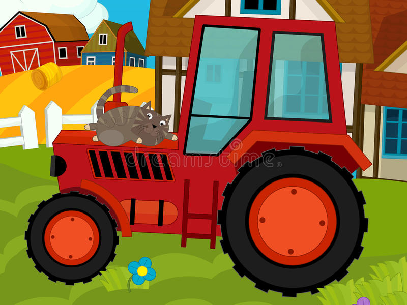 Cartoon Farm Scene Tractor And The Cat Stock