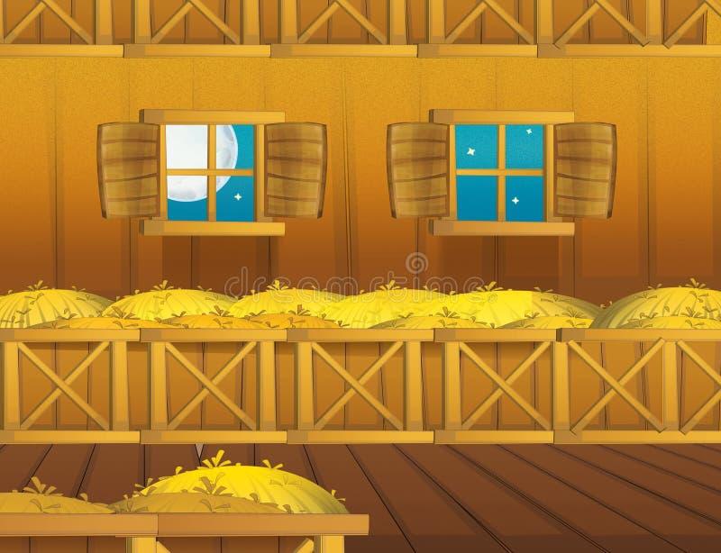 Cartoon farm scene with wooden barn interior - background royalty free illustration