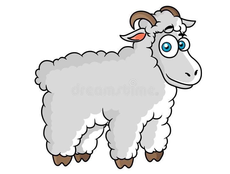 Cartoon farm sheep character stock illustration