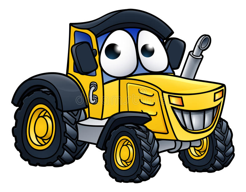 Cartoon Farm Tractor Character. Tractor farm vehicle cartoon character illustration stock illustration
