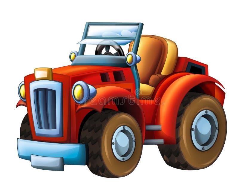 Cartoon farm tractor excavator - on white background stock illustration