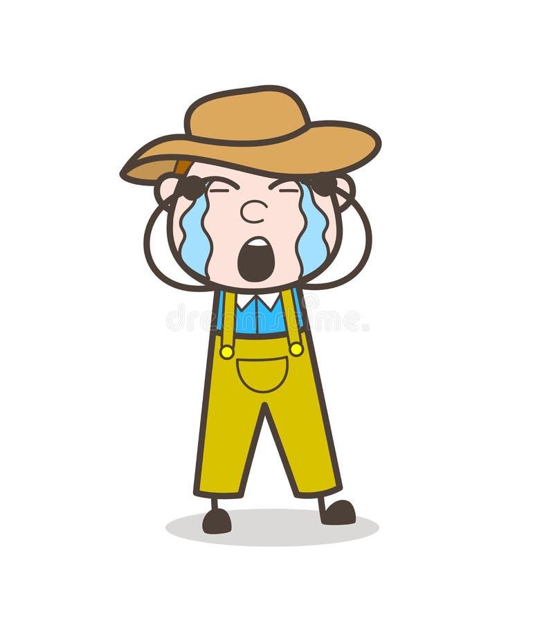 Cartoon Farmer Cowboy Crying Loudly Vector Illustration. Design royalty free illustration