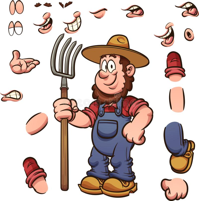 Cartoon farmer with different expressions holding a pitchfork stock illustration