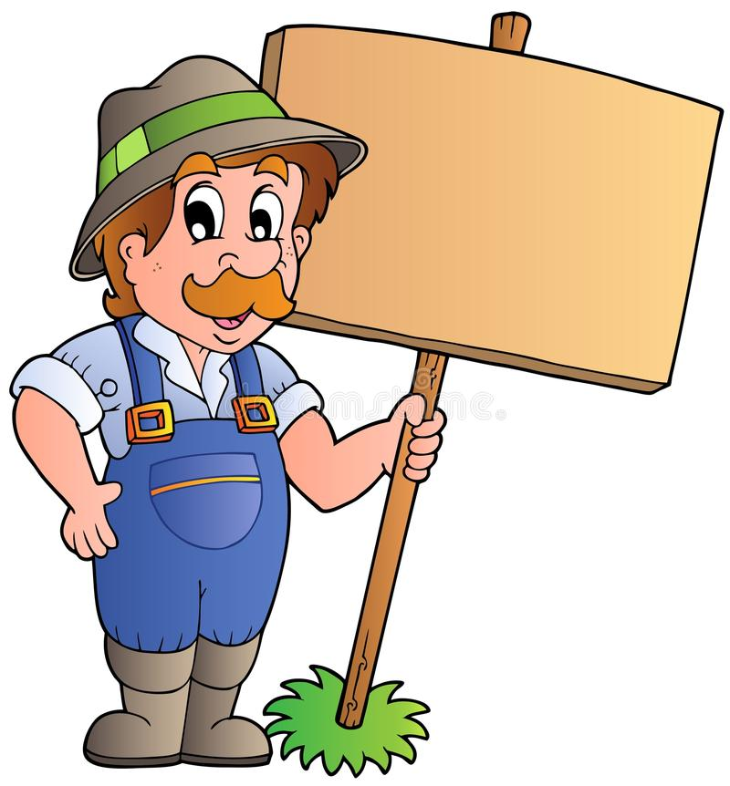 Cartoon farmer holding wooden board stock illustration