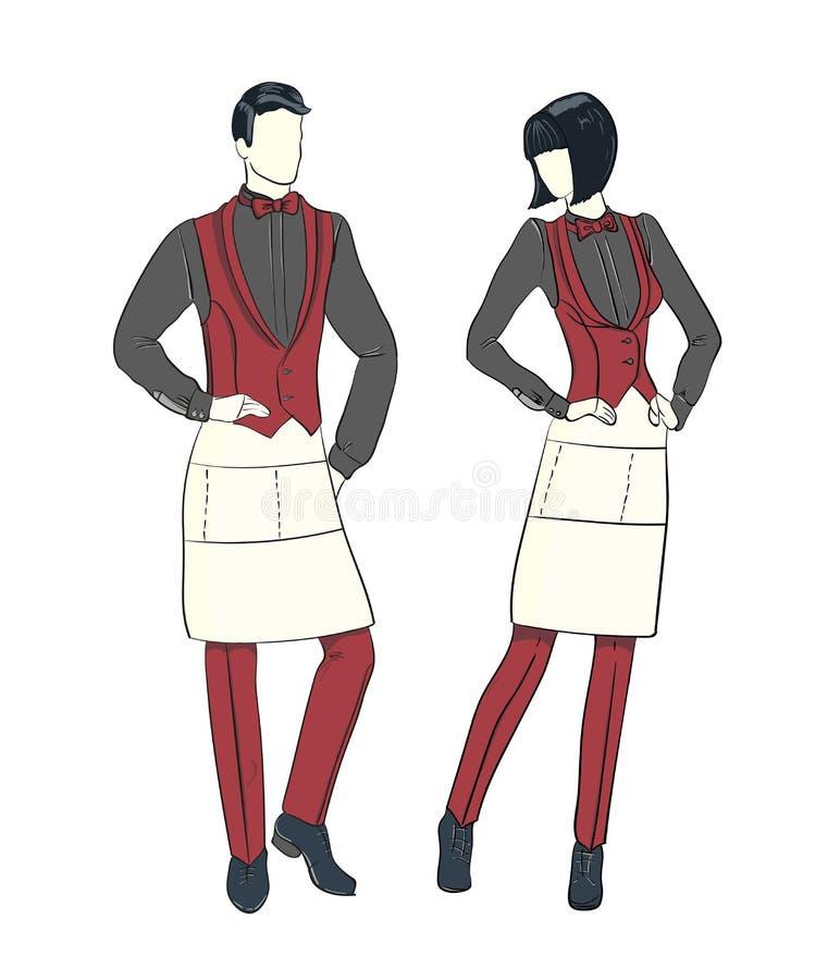 Cartoon fashion sketch of waitress and waiter. royalty free illustration
