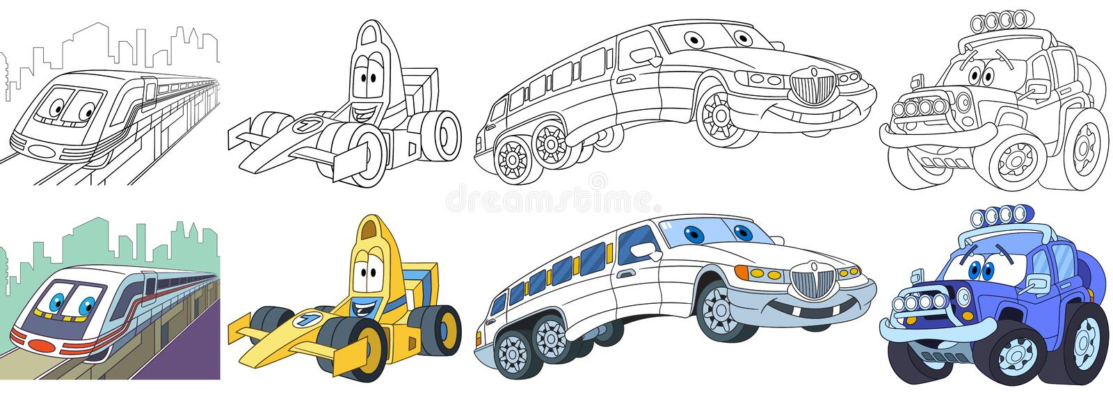 Cartoon fast cars set stock photos