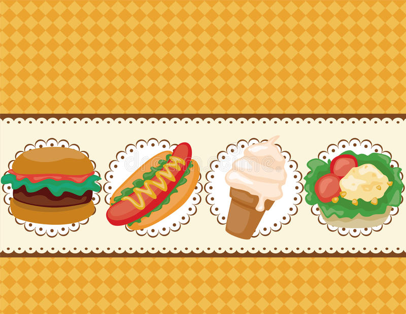 Cartoon fast-food card vector illustration