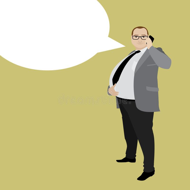 Cartoon fat businessman with cell phone and speech bubble. stock illustration