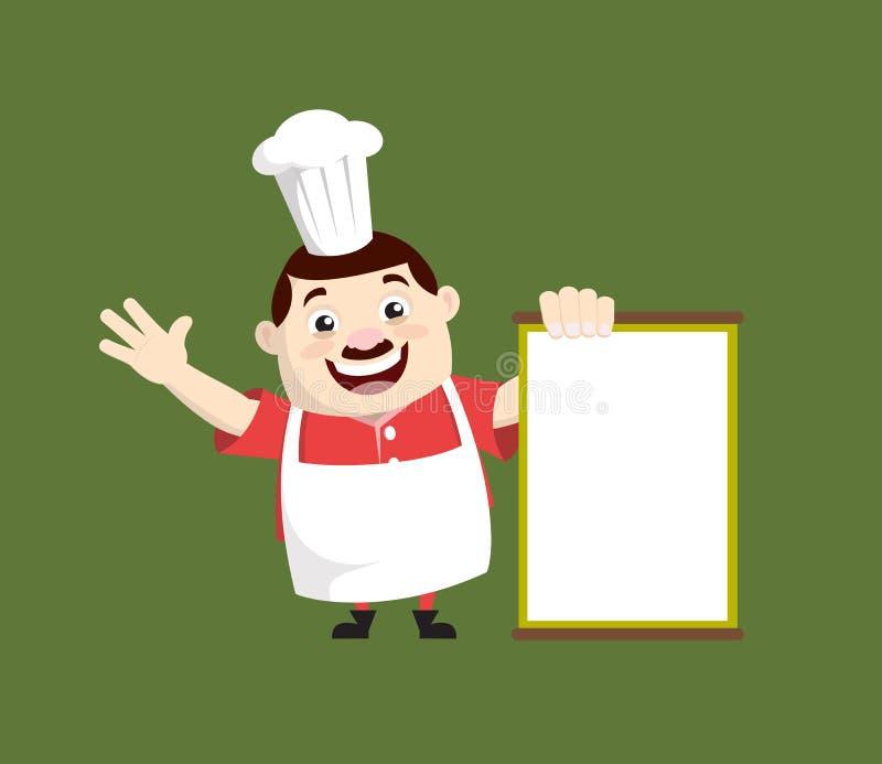Cartoon Fat Funny Cook - Joyeusement présenter une carte blanche illustration libre de droits