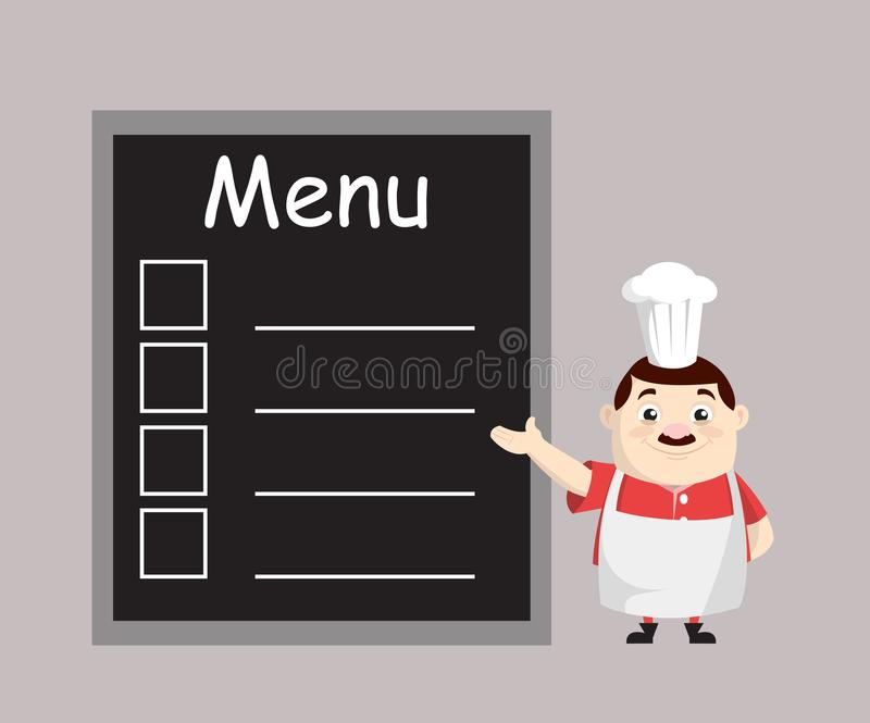 Cartoon Fat Funny Cook - Liste des menus de présentation illustration libre de droits