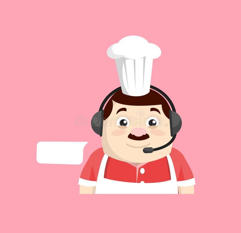 Cartoon Fat Funny Cook - Offrir un service à la clientèle illustration libre de droits