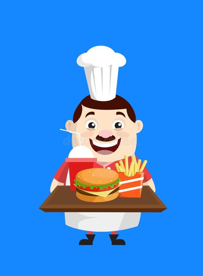 Cartoon Fat Funny Cook - Présentation des aliments rapides illustration libre de droits