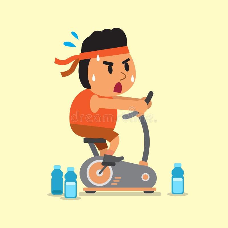 Cartoon Characters Exercising : Cartoon a fat man riding exercise bike stock vector