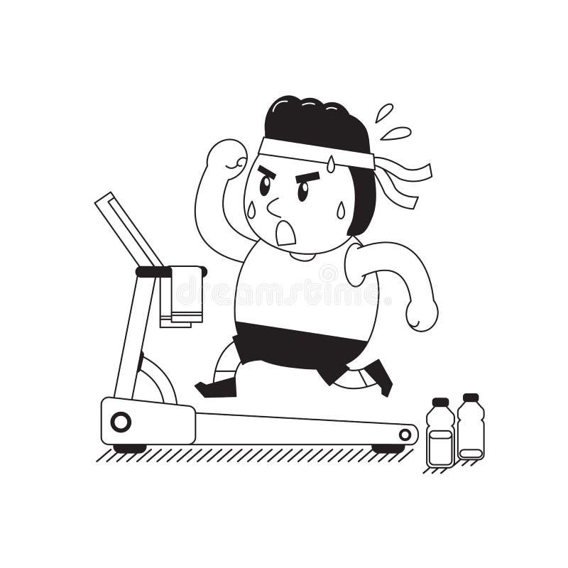 Cartoon fat man running on treadmill. For design royalty free illustration