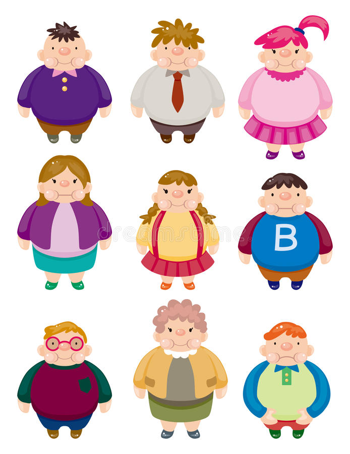 Download Cartoon Fat people icons stock vector. Image of obese - 21309692
