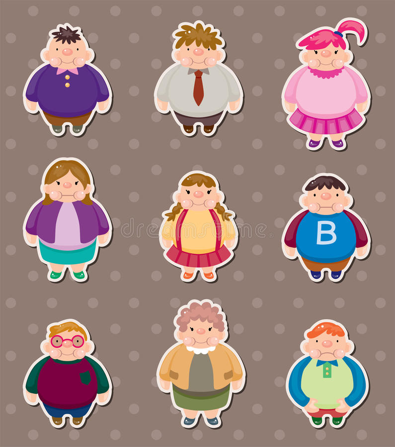 Download Cartoon Fat People Stickers Royalty Free Stock Photos - Image: 25131698