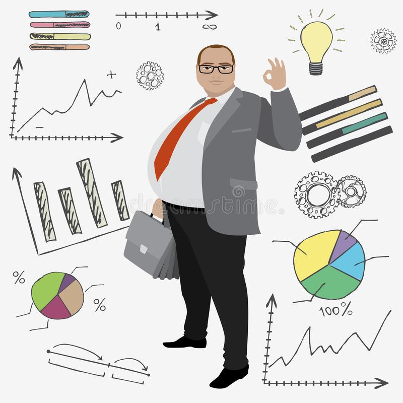 cartoon fat smile businessman or office worker and doodle financ royalty free illustration