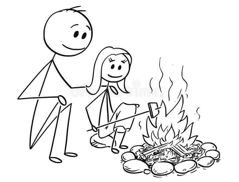 Download Cartoon Of Father And Daughter Sitting Around Fire Or Campfire Stock Vector