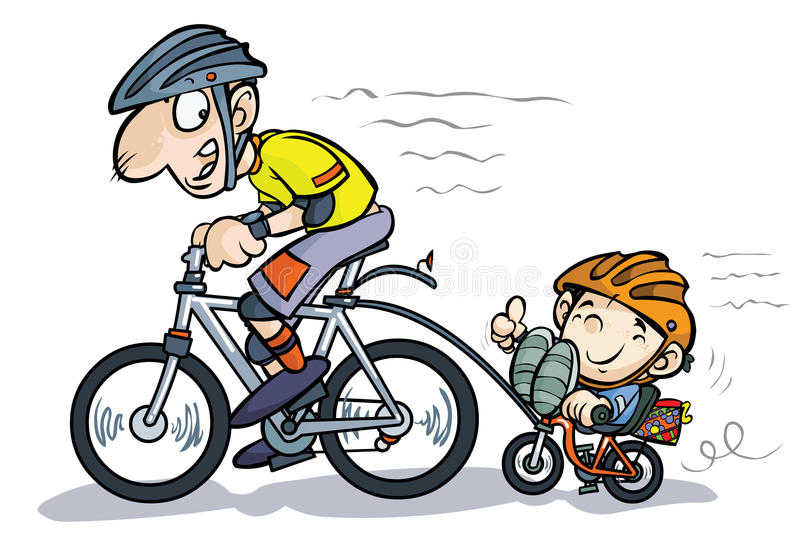 Cartoon Father And Son Bicyclists. Stock Photography