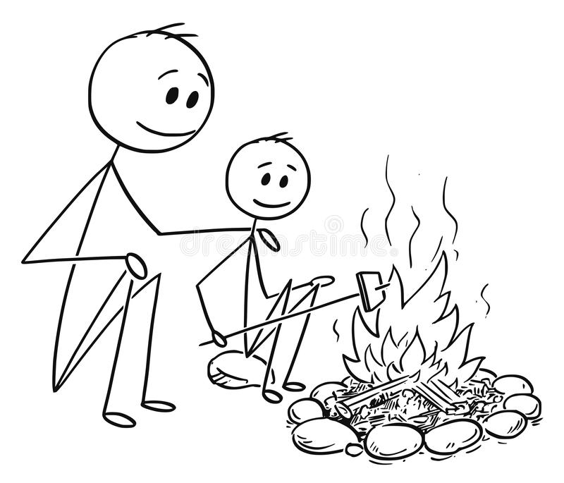 Download Cartoon Of Father And Son Sitting Around Fire Or Campfire Stock Vector
