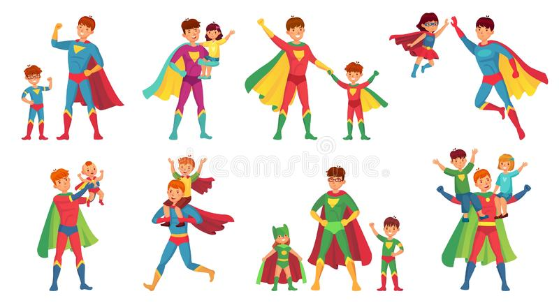 Cartoon father superhero. Happy fathers day, super parent with kids and hero dad vector illustration set. Cartoon father superhero. Happy fathers day, super royalty free illustration